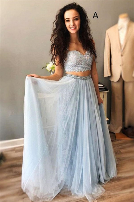 Lace Appliques Spaghetti-Strap Crystal Prom Dresses   Two Piece Sleeveless Evening Dresses with beads
