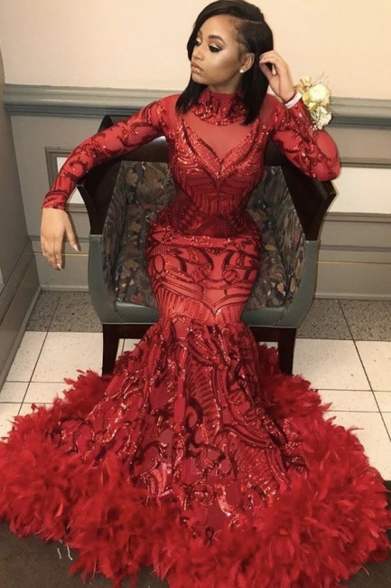 Wine Red Trumpet Sequins Long Sleeves High Neck Prom Dresses | Suzhou UK Online Shop