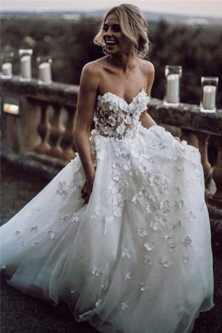 Sexy Gorgeous Jewel Wedding Dresses | Simple Longsleeves Backless Floral Bridal Gowns
