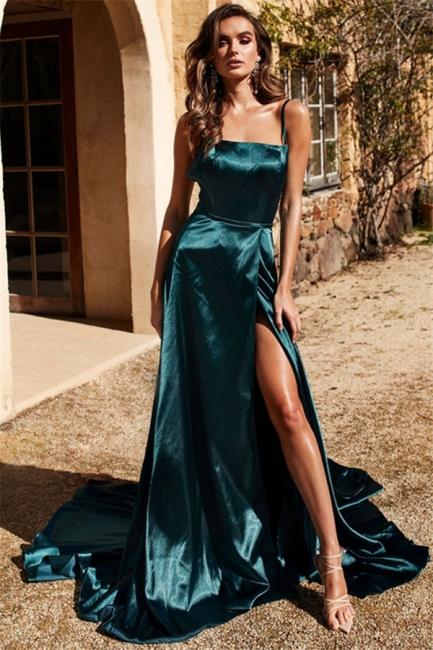Glamorous Spaghetti Strap Prom Dresses Side Slit Sleeveless Sexy Evening Dresses
