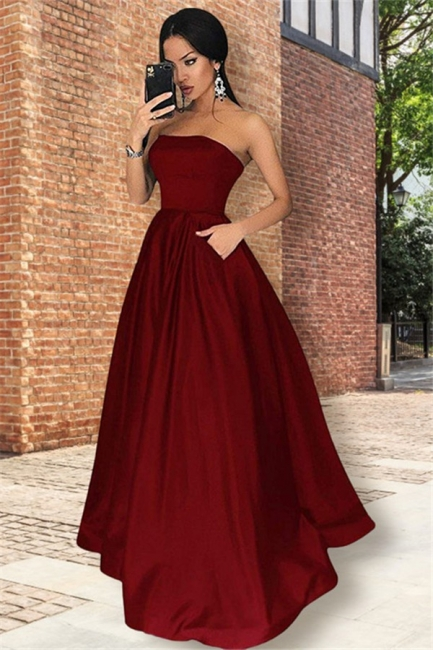 Burgundy Strapless Ruffles Prom Dresses Sleeveless Sexy Evening Dresses with Pocket