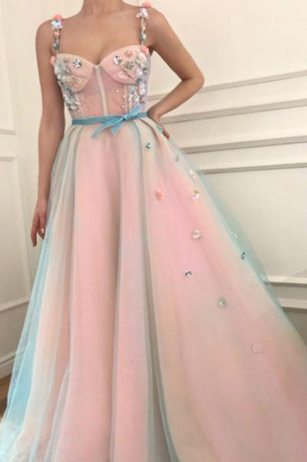 Glamorous Flower Bowknot Spaghetti-Strap  Prom Dresses | Ribbons Sheer Sleeveless Evening Dresses with Beads
