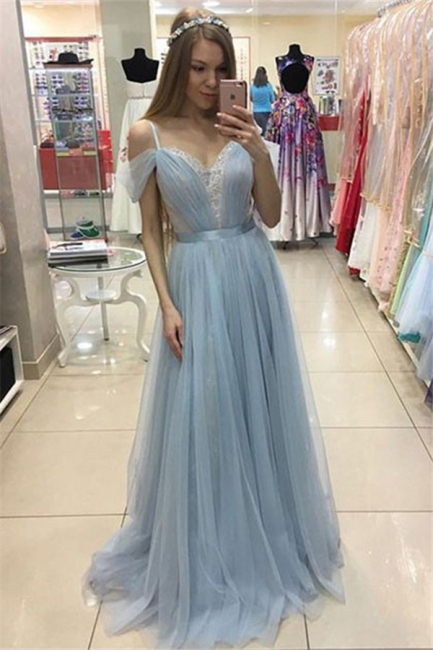 Spaghetti Strap Applique Sleeveless Prom Dresses Tulle  Sexy Evening Dresses with Belt