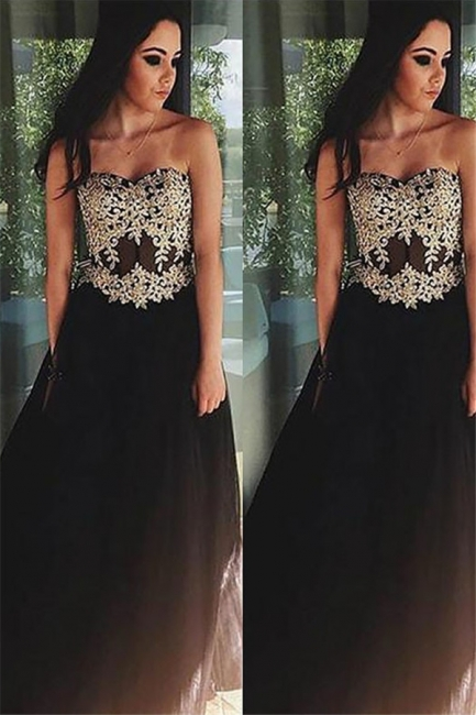 Black Lace Appliques Sweetheart Prom Dresses | Tulle Simple Evening Dresses