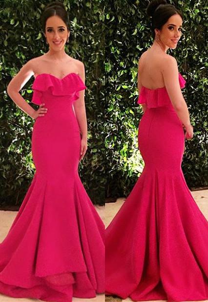 Amazing Strapless Ruffle Summer Sleeveless Long Trumpet Prom Dress | Suzhou UK Online Shop