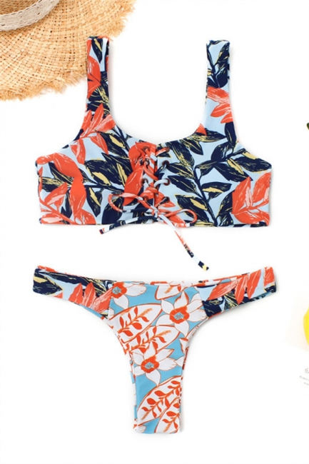 High Waist Lace-up Straps Flower Prints Bikinis