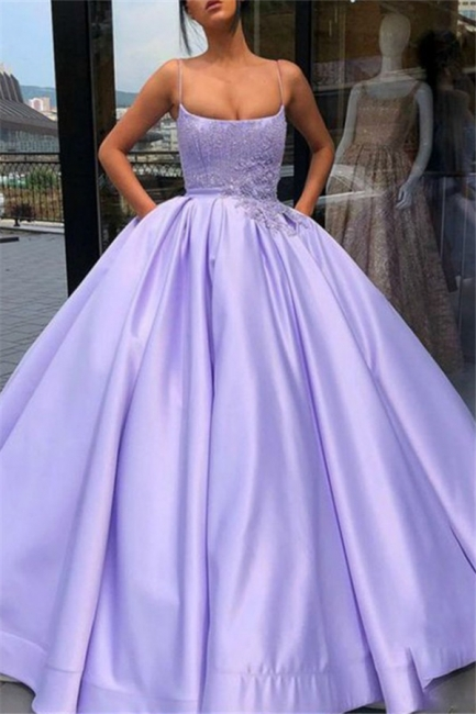 Glamorous Spaghetti Strap Applique Beads Prom Dresses Ruffles Ball Gown Sleeveless Sexy Evening Dresses with Pocket