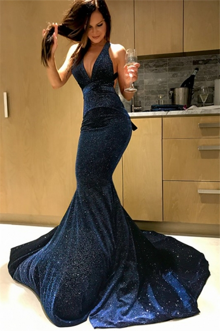 Glamorous Halter Sequins Mermaid Prom Dresses Sleeveless Sexy Evening Dresses