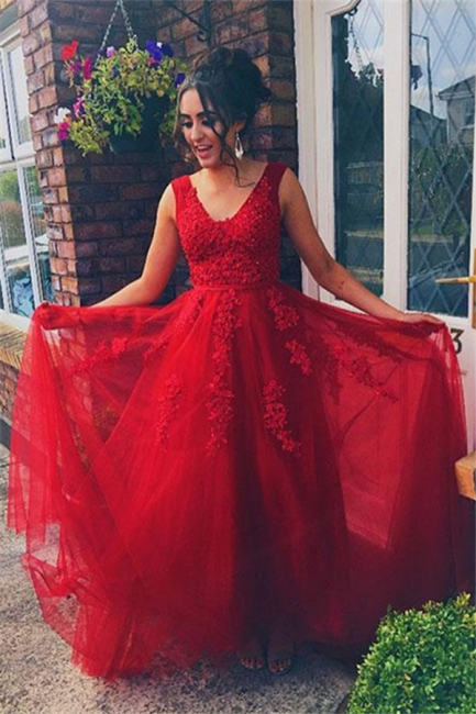 Red Jewel Lace Appliques Sleeveless Prom Dresses | Tulle Evening Dresses with Beads
