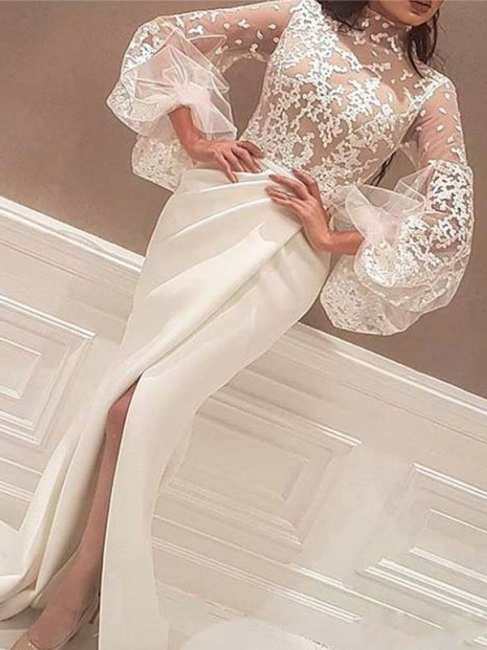 High Neck Lace Long Sleeves Prom Dresses Mermaid Ruffles Sexy Evening Dresses Cheap