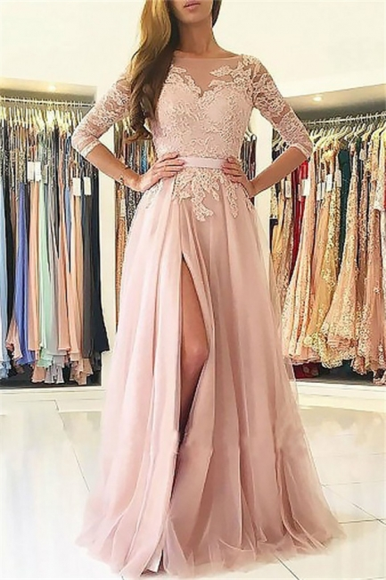 Glamorous Lace Appliques Long Sleeves Prom Dresses   Open Back Jewel Side Slit Evening Dresses with Belt