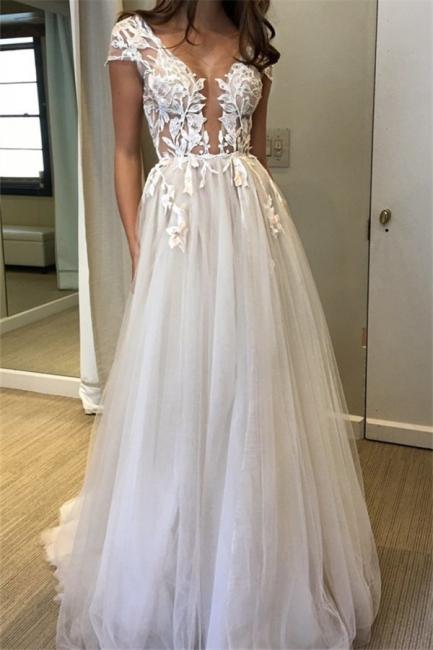 V-Neck Lace Appliques Prom Dresses | Sheer Sleeveless Evening Dresses