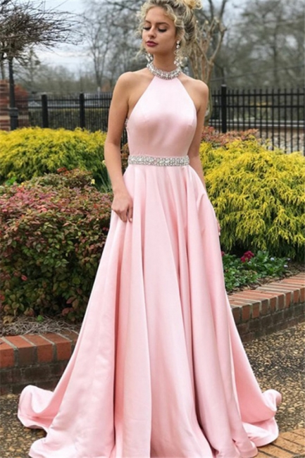 Glamorous Pink Halter Crystal Open Back Prom Dresses Sleeveless Ruffles Sexy Evening Dresses with Belt