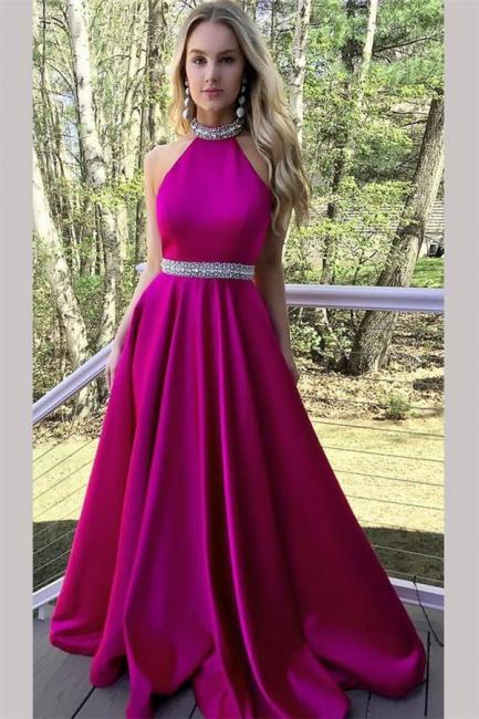 Crystal Halter Prom Dresses | Ribbon Sleeveless Evening Dresses