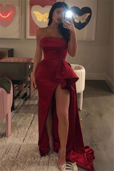 Wine Red Bateau Summer Sleeveless Side-Slit Trumpet Long Prom Dress | Suzhou UK Online Shop