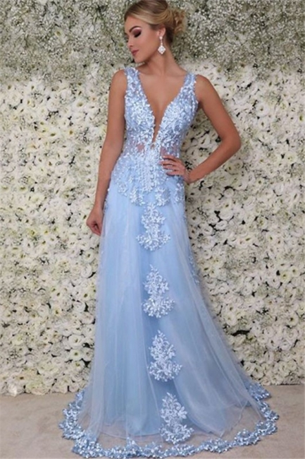 Glamorous V-Neck  Sleeveless Applique Prom Dresses Tulle  Sexy Evening Dresses with Beads
