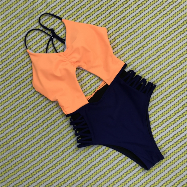 Hollowed Up One-piece Spaghetti Straps Swimsuits