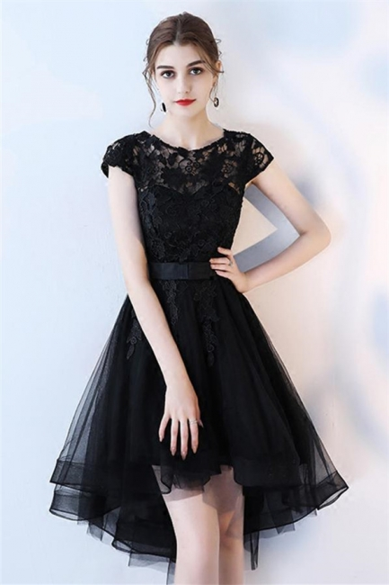 Black Bowknot Jewel Lace Appliques Homecoming Dresses | HI-Lo Sheer Sleeveless Short Party Dresses