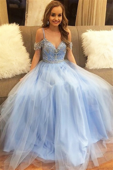 Fashion Spaghetti strap Lace Appliques Crystal Prom Dresses | Sleeveless Evening Dresses with Beads