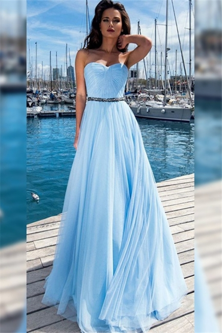 Glamorous Sweetheart Ruffles Crystal Prom Dresses Sleeveless Sexy Evening Dresses With Belt