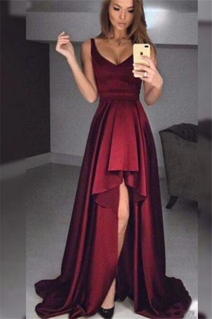 Burgundy V-Neck Ruffles Prom Dresses Hi-Lo Sleeveless Sexy Evening Dresses