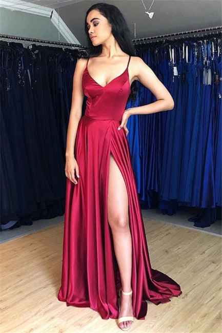 Spaghetti Strap Lace Up Prom Dresses   Side Slit Sleeveless Evening Dresses