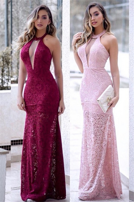 Halter Lace Mermaid Prom Dresses Sleeveless Keyhole Side Slit Sexy Evening Dresses