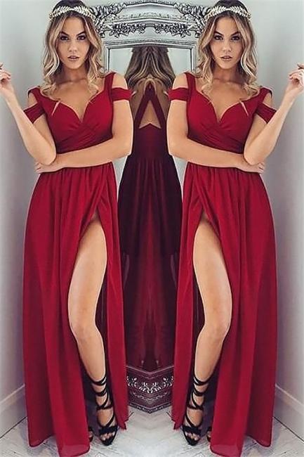 Off-the-Shoulder Side Slit Prom Dresses   Tulle Ruffles Evening Dresses