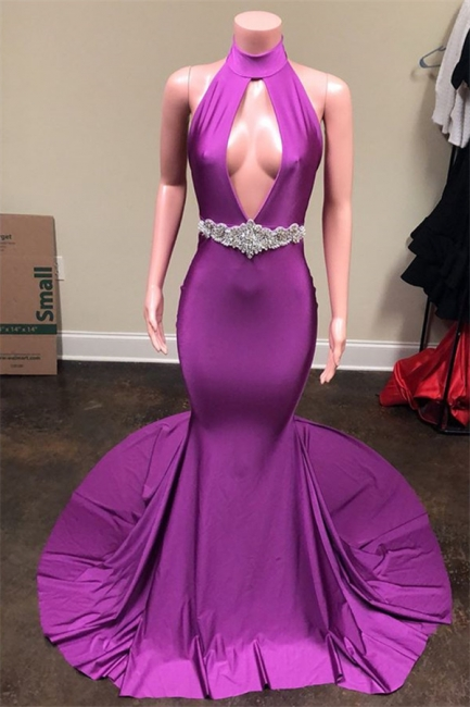 New Arrival Purple Halter Sexy Low Cut Trendy Backless Summer Sleeveless Trumpet Evening Gown | Suzhou UK Online Shop