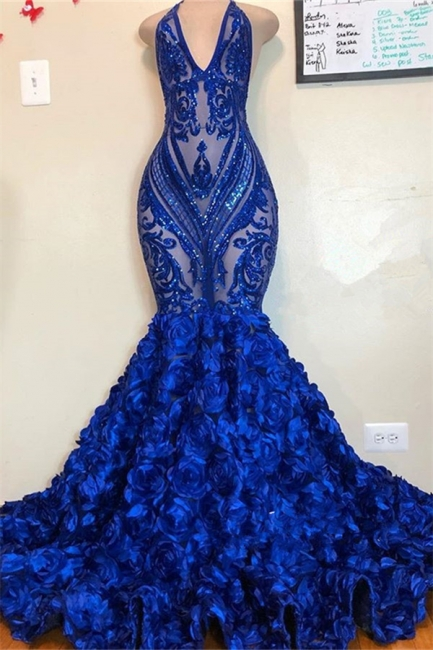 Sexy Low Cut Halter Sequins Pattern Floral Sweep Train Prom Dresses | Suzhou UK Online Shop