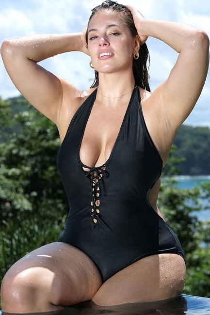 matching in colour los angeles amazon Plus Size Lace-up Side Cut-out Halter One-piece Swimsuits ...