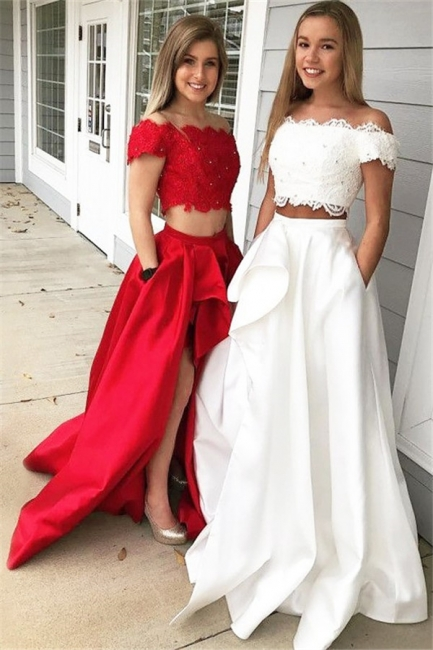 Glamorous Off-the-shoulder Two Piece Ruffles Prom Dresses |Beads Lace Side Slit Evening Dresses with Pocket