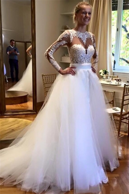 Gorgeous Applique Jewel Wedding Dresses | Sheer Long Sleeves Floral Bridal Gowns