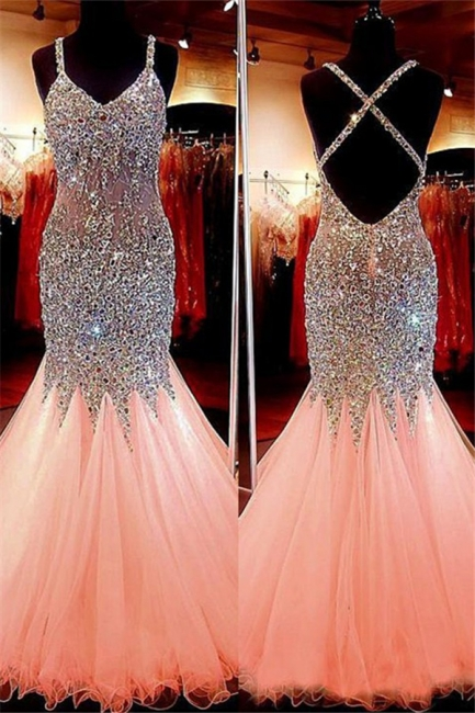 Spaghetti Strap Beads Crystal Prom Dresses | Sleeveless Pink Lace Up Evening Dresses