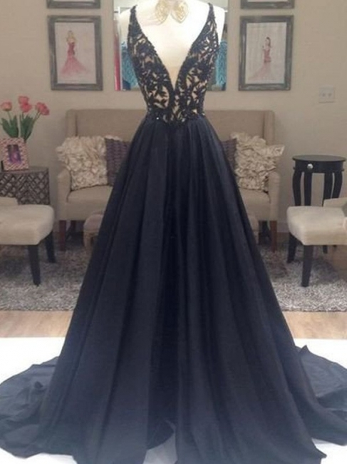 Black Lace V-Neck Sleeveless Prom Dresses | Open Back Evening Dresses with Beads