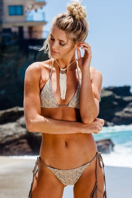Lace Triangle Cut-outs Halter Bikini Swimwears