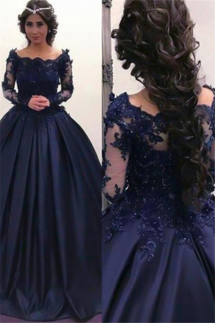 Lace Lace Appliques Bateau Long Sleeves Prom Dresses | Ball Gown Evening Dresses with Beads