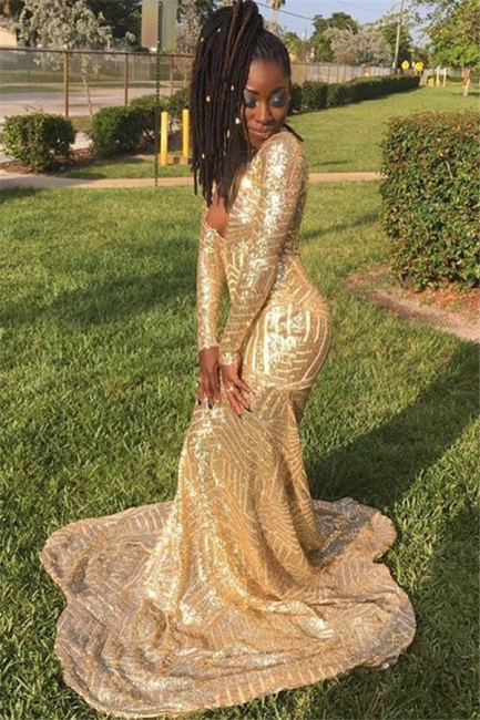 Gold Long-Sleevees Sexy Low Cut Sequins Trumpet Prom Dresses   Suzhou UK Online Shop