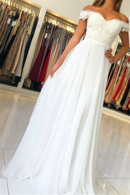 Glamorous Off-the-Shoulder Lace Appliques Prom Dresses | Open Back Sleeveless Evening Dresses with Belt