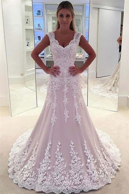 Lovely Pink Appliques Wedding Dresses | Sleeveless Floral Bridal Gowns Online