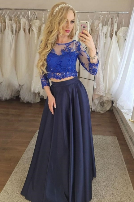 Glamorous Two Piece Lace Appliques Prom Dresses   Longsleeves Evening Dresses with Beads