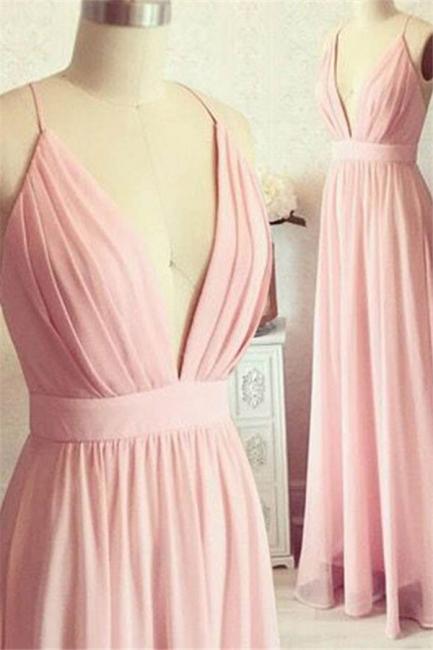 Romactic Pink Spaghetti Strap Ruffles Prom Dresses Sleeveless Sexy Evening Dresses with Belt