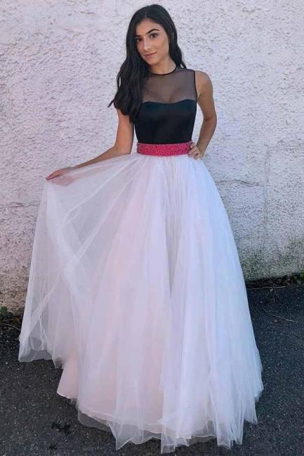 Glamorous Sheer Jewel Ribbon Beads Prom Dresses | Sleeveless Evening Dresses with Bowknot
