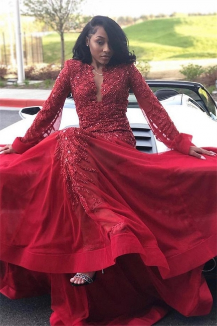 Glamorous Lace Appliques Long Sleeves Prom Dresses | Red Keyhole Falbala Evening Dresses With Beads