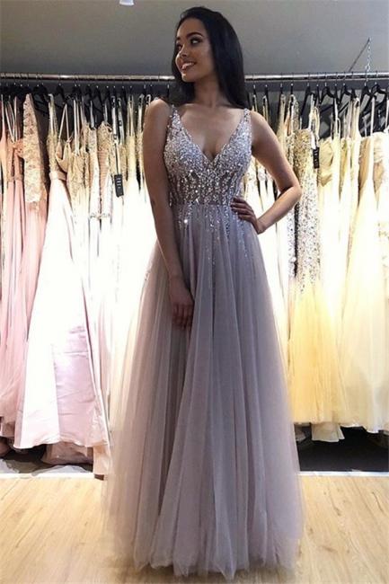 V-Neck Crystal Open Back Prom Dresses | Tulle  Sleeveless Evening Dresses