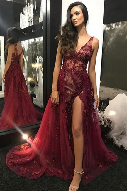 Wine Red Straps Sexy Low Cut Lace Beading Side-Slit Quality Tulle Detachable Princess A-line Evening Gown | Suzhou UK Online Shop
