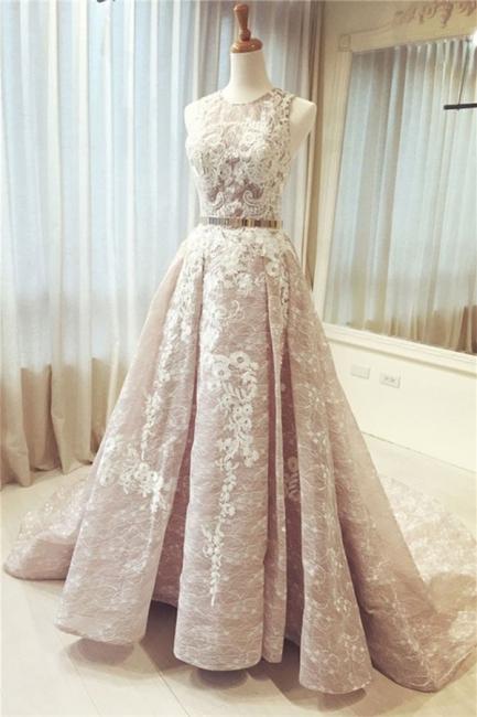 Glamorous Pink Ribbons Lace Appliques  Prom Dresses | Jewel Sleeveless Evening Dresses