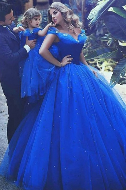 Glamorous Off-the-Shoulder Flower Prom Dresses | Sleeveless Tulle Ball Gown Evening Dresses wit Beads