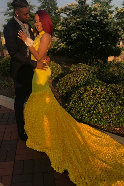 Yellow Halter Trendy Backless Summer Sleeveless Applique Trumpet Evening Dresses | Suzhou UK Online Shop