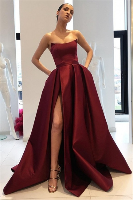 Burgundy Strapless Ruffles Prom Dresses Sleeveless Side Slit Sexy Evening Dresses with Pocket